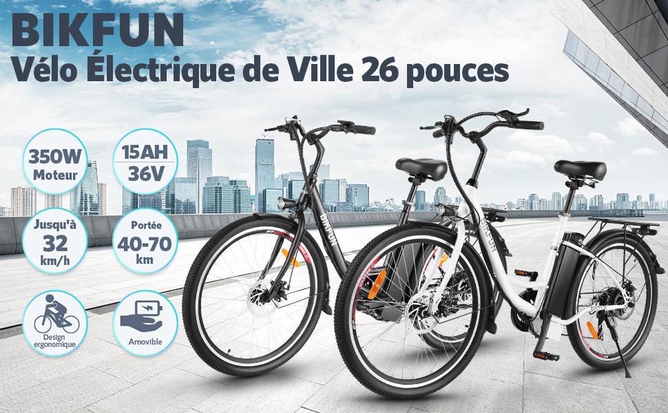 BIKFUN 26 Pouces Vélo Électrique de Ville Noir - EB5793